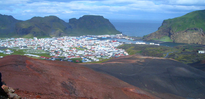Picture taken over the town on Heimaey, the biggest of the Westman Islands. PIC Randomskk