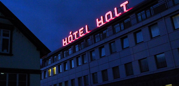 Pricey hotel not worth much. Hotel Holt in Reykjavik Iceland has seen much better days. PIC acb