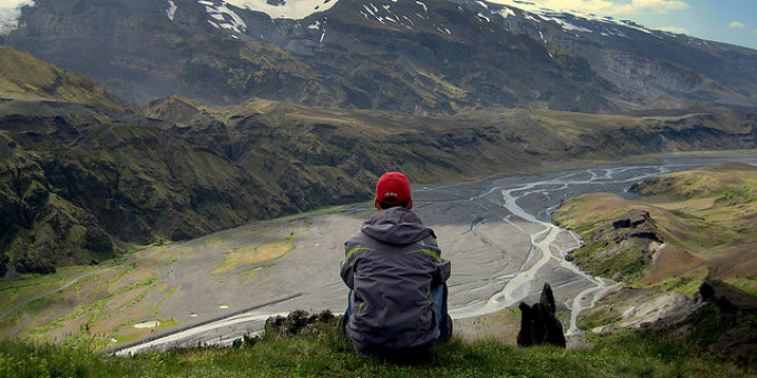 Sitting on top of the world... or at least top of Thorsmork Iceland. Sheltered valley surrounded by magnificent nature and glacier to boot. PIC Canadien Veggie