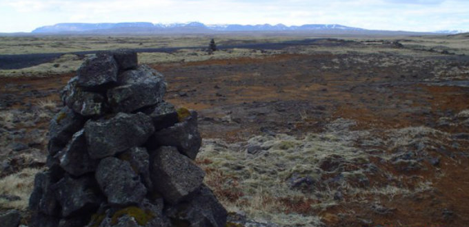 On Hellisheidi not far from Reykjavik city you´ll find over one hundred stone pillars, cairns, from times past. PIC AÞE
