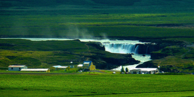 Godafoss waterfalls seen from far away on a hot summers days in Iceland. PIC rwhgould