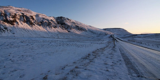 A snowy road to nowhere in Iceland. Conditions for driving are getting pretty bad here. PIC Mórka