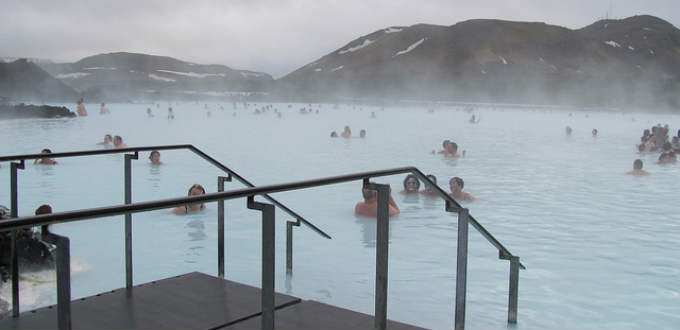 Relaxing in the famous Blue lagoon. Unlike in the ads there is not always sunshine around. PIC RtotheJ