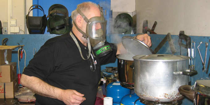 Would you believe we eat food which smells so bad the cook has to wear protective clothings