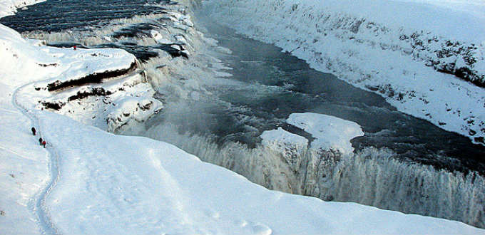Gullfoss waterfall is always impressive but the tiny frozen path beside it much less so. PIC Gunnsi