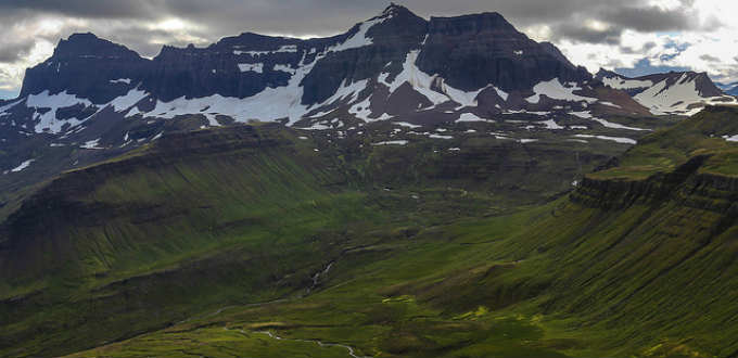 The impressive Dyrfjoll mountain range in East of Iceland tempt many hikers. PIC Kevin Barnett