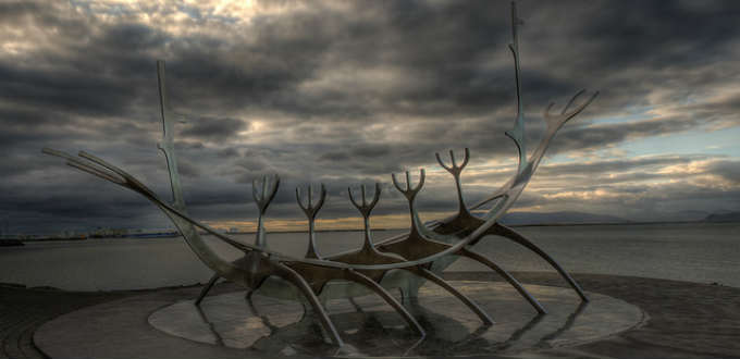 Pretty great art if you ask us. The Sun voyager sculpture near to downtown Reykjavik in Iceland. PIC Wandering Tripod