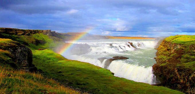 Gulfoss waterfall in its summer dress. Pic O Palsson
