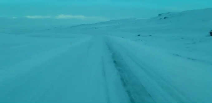 Driving Holtavorduheidi moor in wintertime is not so simple. PIC Screengrab