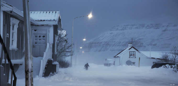 Typical day in rural Iceland in December. Dark, cold, snowy. PIC jacrot christoph