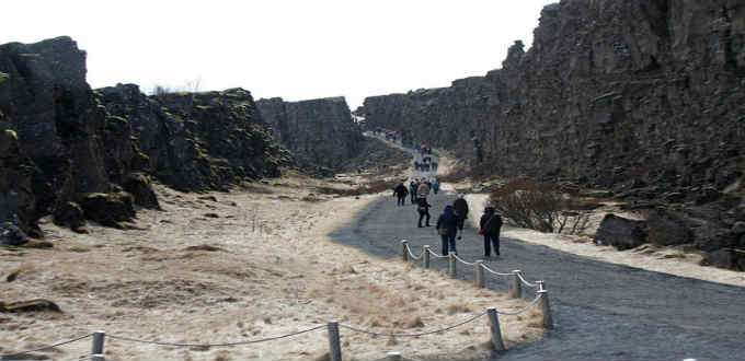 Path between the plates at Thingvellir. Number of tourists are growing so much a part of this area could be closed off for a while. PIC Tanya Hart