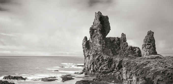 Pretty in black and white. Londrangar cliffs in Snaefellsnes. PIC Greame Tozer