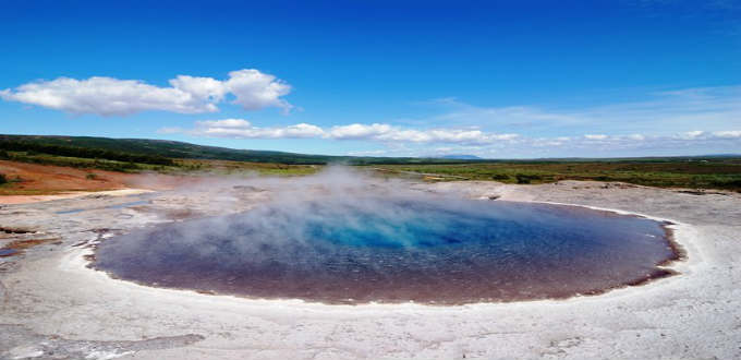 The dead Geysir in Haukadalur Iceland. According to old tales it used to spew hot water 180 metres into the air.