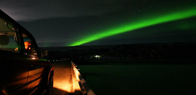 The end of the Northern lights in Iceland