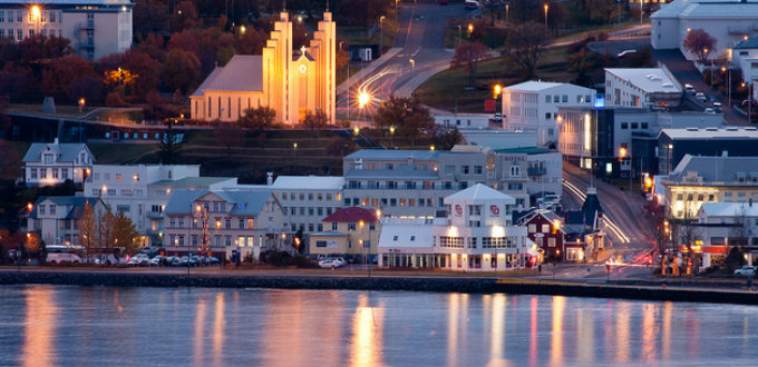 Picturesque indeed. The iconic church and part of the center of Akureyri in deep winter. PIC rjzii