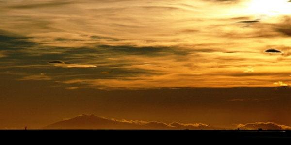Snaefellsjokull glacier and mountain range bathed in the midnight sun. PIC Fríða mín