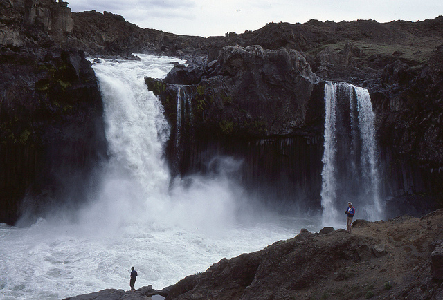 Visiting Aldeyjarfoss waterfall in Iceland in a 2wd