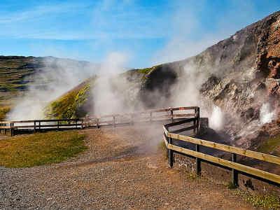 The trip takes you to a massive hot spring area called Deildartunguhver. PIC Enrique Domingo