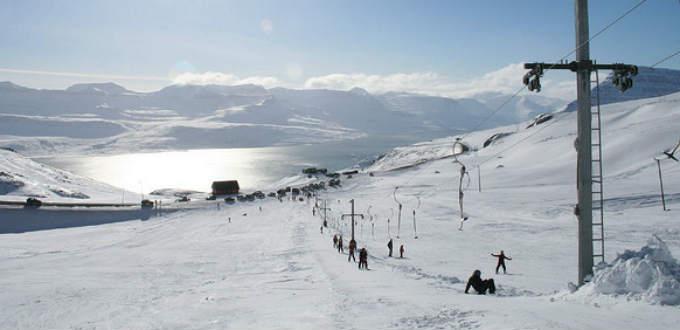A sunny day in Oddskard ski area in the East of Iceland. PIC Denpo