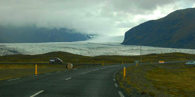Suddenly driving upon a glacier is a normal experience in Iceland. PIC pdomora