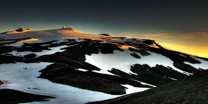 Near the top of Snaefellsjokull in late summer. PIC Greg Kruk