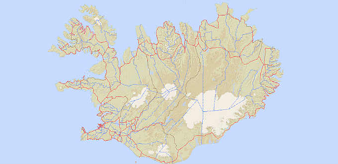 A map from Iceland Geological Survey showing roads. Good maps can be hard to get hold of as yet. Mynd Landmælingar Íslands