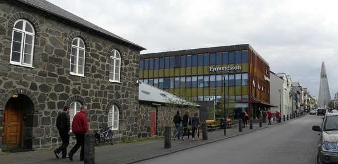 The old grey prison building and Hallgrimskirkja church at the end of Skolavordustigur street. PIC JasonParis