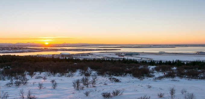 A January view from Perlan viewing platform in Reykjavik city. PIC Adam Horne