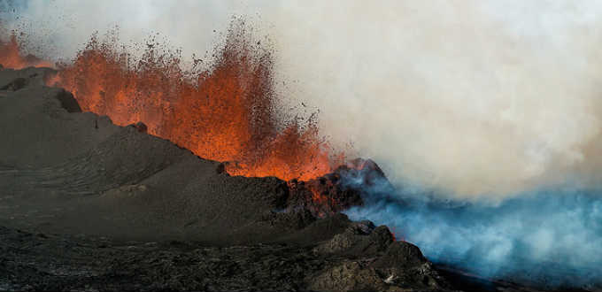 At last Holuhraun volcano in Iceland is open for business