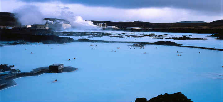 The famous Blue lagoon and in the background the energy company supplying the lagoon with its warm water. PIC laurent gauthier